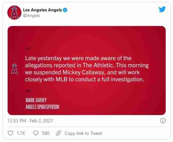 LA Angels response to Mike Callaway